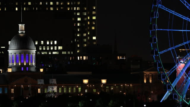 old montreal cityscape in summer at night - montréal stock videos & royalty-free footage