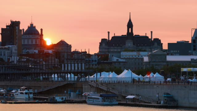 old montreal cityscape in summer at sunset - vieux montréal stock videos & royalty-free footage