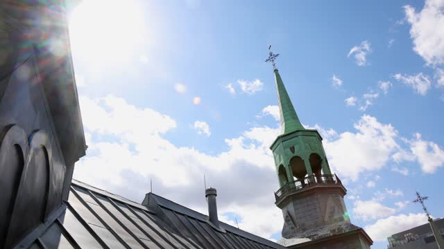 old montreal notre-dame-de-bon-secours chapel steeplechase back lit with lens flare - steeple stock videos & royalty-free footage