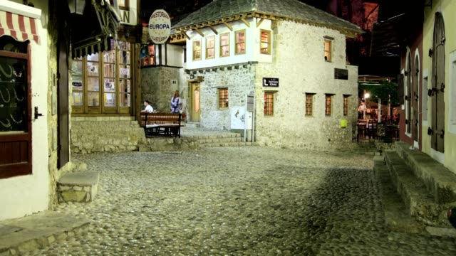 old mostar town (night) - bosnia and hercegovina stock videos & royalty-free footage