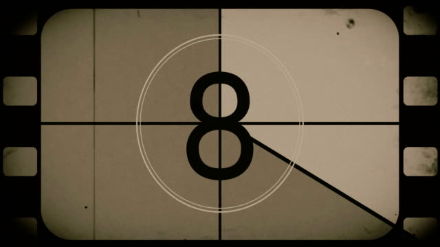 stockvideo's en b-roll-footage met oude film countdown film reel - retro style