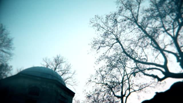 Alten muslimischen Grab und launisch Bäume, rechts, Kamera Objektiv Weichheit an Ecken und Korn