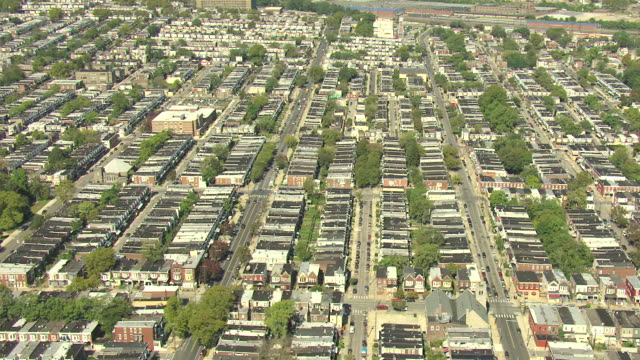 ms aerial old neighborhoods of houses / philadelphia, pennsylvania, united states - philadelphia pennsylvania stock videos & royalty-free footage