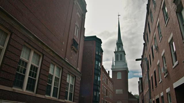 old north church. boston. sunny. dramatic view - boston massachusetts stock videos & royalty-free footage