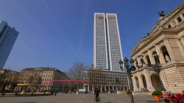 old opera house at opernplatz and ubs tower, frankfurt am main, hesse, germany - frankfurt main stock videos and b-roll footage