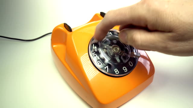 Old orange telephon