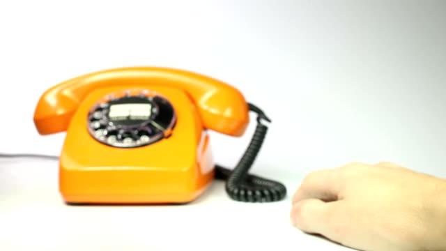 old orange telephone - landline phone stock videos and b-roll footage