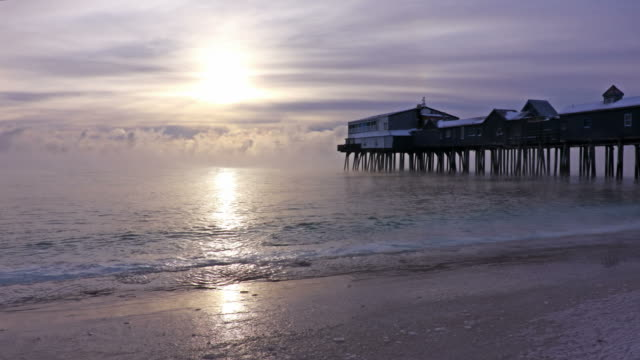 old orchard beach in arctic sea smoke - eastern usa stock videos and b-roll footage