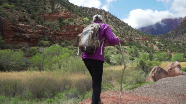 old outdoor enthusiast resting from hike to observe nature - sandstone stock videos & royalty-free footage