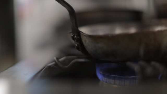 Old Pan on a Flaming Hob