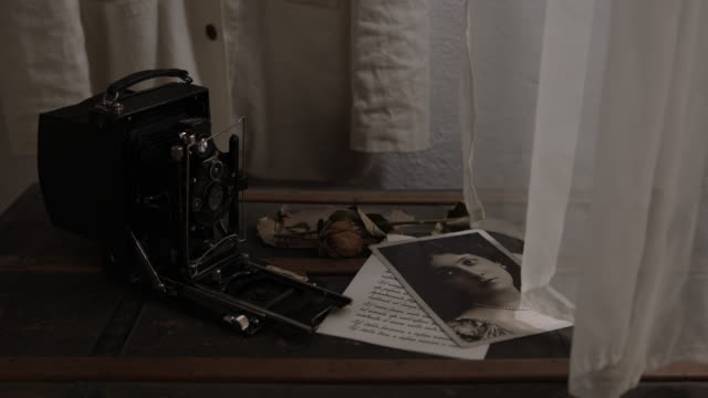 old picture on a table beside a vintage camera - 美術工芸品点の映像素材/bロール