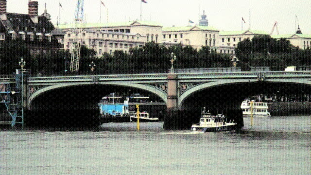 (hd1080i) old postcard effect; police boat on london thames river - police boat stock videos and b-roll footage