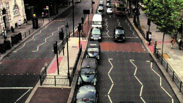 (hd1080i) old postcard effect; urban traffic - no parking sign stock videos & royalty-free footage