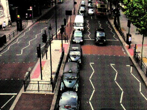 old postcard effect; urban traffic - squiggle stock videos & royalty-free footage