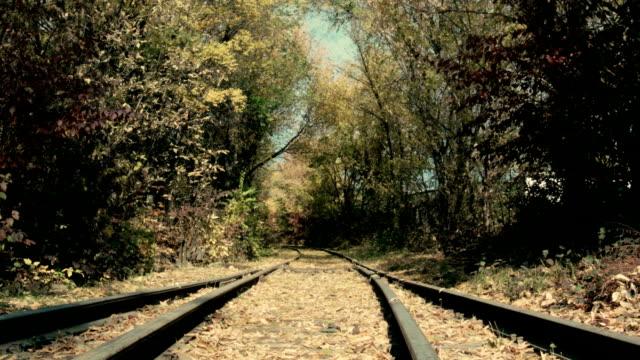 古い鉄道で過ごす秋の日 - 線路のポイント点の映像素材/bロール
