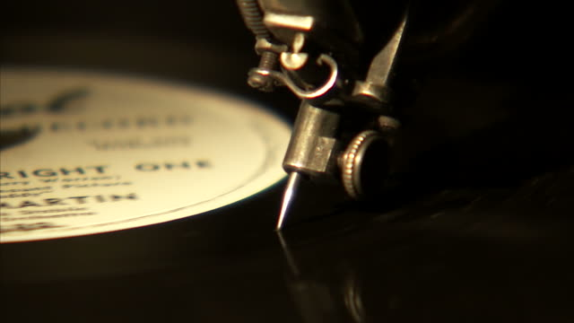 CU Old record needle on spinning record