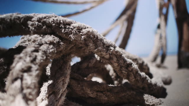 stockvideo's en b-roll-footage met old rope from a shipwreck on a white sand beach in the sun - verweerd oud