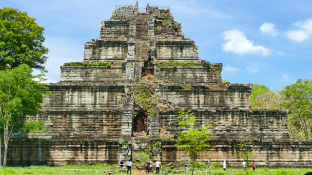 old ruin pyramid of koh ker temple in cambodia - circa 12th century stock videos & royalty-free footage