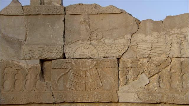 CU ZI Old ruin with relief, Persepolis, Iran