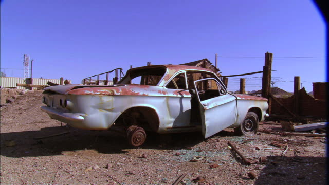 old, rusty, abandoned car with door hanging ajar - ajar stock videos & royalty-free footage