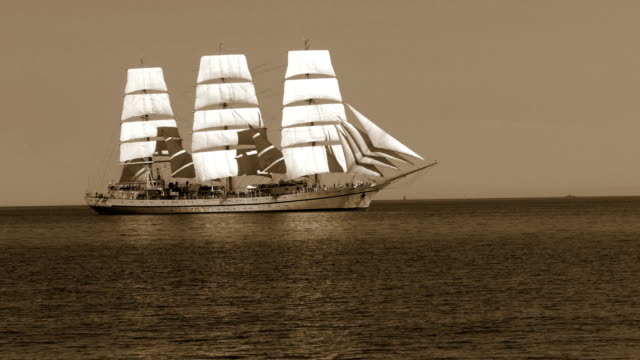 old sailboat in sepia tone - sailing ship stock videos & royalty-free footage