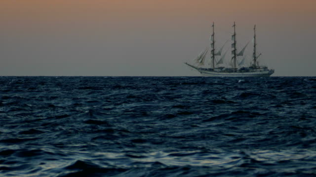 old sailing ship at sunset - veliero video stock e b–roll