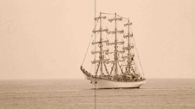 Old sailing ship - stylized old movie