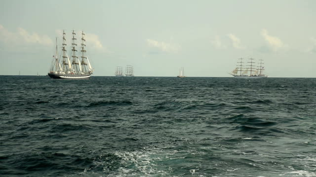 old sailing ships in the open sea - nave video stock e b–roll