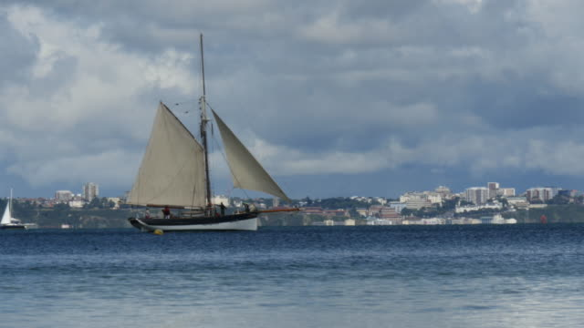 vídeos y material grabado en eventos de stock de old sailing yacht sails from left to right - studland heath