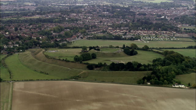 old sarum  - aerial view - england, wiltshire, laverstock, united kingdom - wiltshire stock videos & royalty-free footage