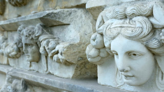 old sculptures on the walls in aphrodisias antique city - antique stock videos & royalty-free footage