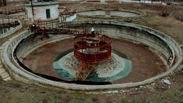 old sewage treatment plant - concrete stock videos & royalty-free footage