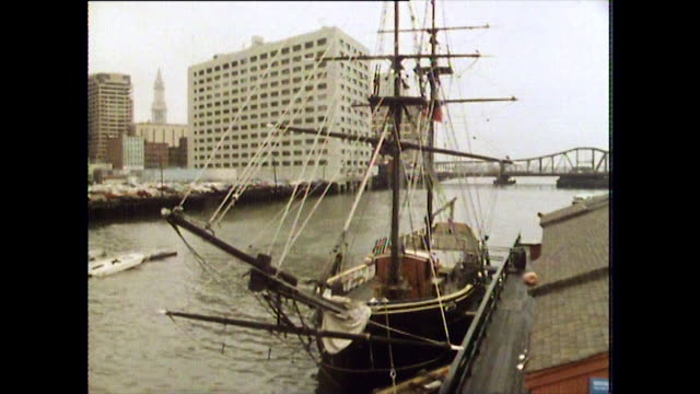 old ship and tea being thrown into water; boston, 1984 - rigging nautical stock videos & royalty-free footage