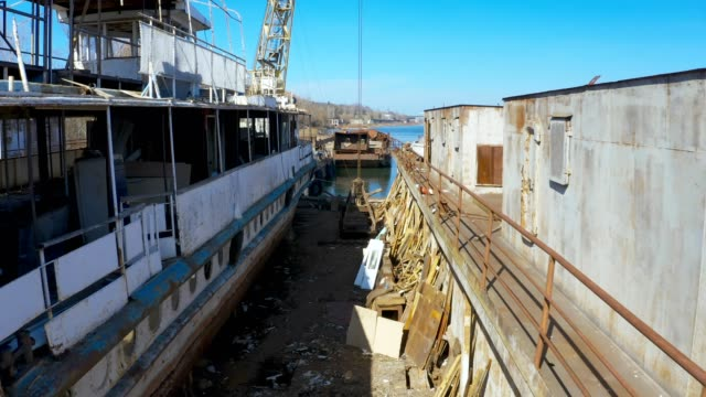 old ship repair barge - barge stock videos & royalty-free footage
