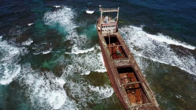 Old shipwreck after the accident in the Mediterranean Sea