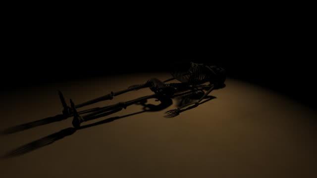 古い汚れ階にスケルトン花輪 - 茶色背景点の映像素材/bロール
