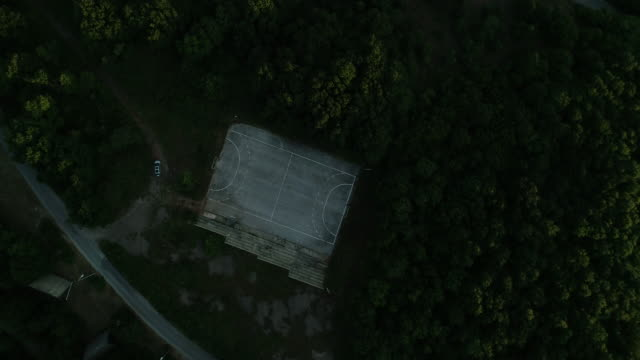 old sport court from air - calcestruzzo video stock e b–roll