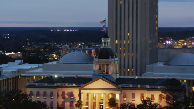 old state capitol building in tallahassee, florida - aerial - florida us state stock videos & royalty-free footage
