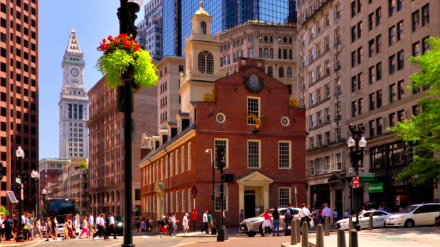 old state house in modern business district. boston - boston massachusetts stock videos & royalty-free footage