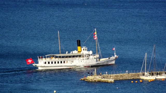 Old steam boat on lake Geneva