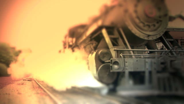 stockvideo's en b-roll-footage met old steam engine train leaves station - color - locomotief