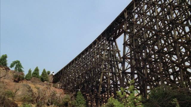 WS Old steam train crossing trestle bridge