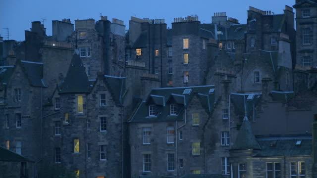MS, Old stone buildings at dusk, Edinburgh, Scotland, United Kingdom