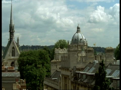 ms old stone buildings, radcliffe camera, trees on horizon, oxford - radcliffe camera stock videos and b-roll footage