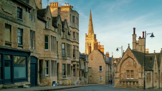 old stone houses in stamford town in lincolnshire, england 4k time-lapse - lincolnshire stock videos & royalty-free footage
