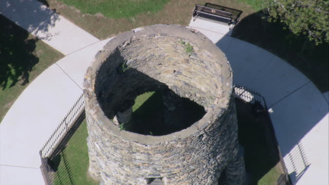 AERIAL Old Stone Mill in Touro Park / Newport, Rhode Island, United States