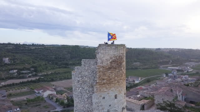 Old stone tower in Catalonia, aerial
