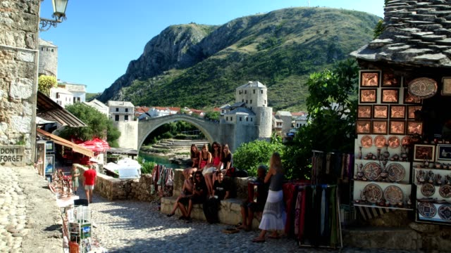 old street and stari most - bosnia and hercegovina stock videos & royalty-free footage