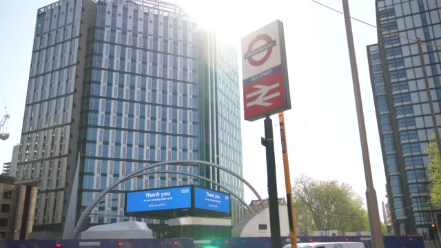 old street roundabout has a billboard thanking the nhs during the novel coronavirus covid19 pandemic - commercial sign stock videos & royalty-free footage