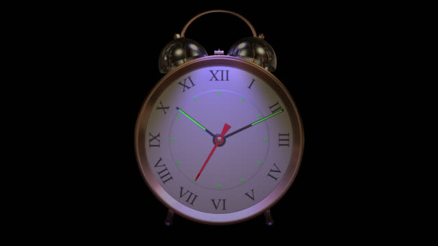 old style bell alarm clock ringing saved with alpha channel - changing clock stock videos and b-roll footage